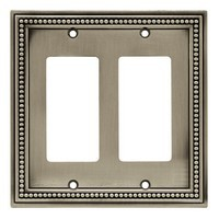 Liberty Hardware 64770, Double Decorator Wall Plate, Brushed Satin Pewter, Beaded Collection