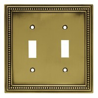 Liberty Hardware 64771, Double Switch Wall Plate, Tumbled Antique Brass, Beaded