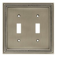 Liberty Hardware 64772, Double Switch Wall Plate, Brushed Satin Pewter, Beaded Collection