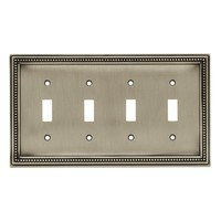 Liberty Hardware 64774, Quad Switch Wall Plate, Brushed Satin Pewter, Beaded Collection