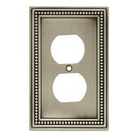 Liberty Hardware 64776, Single Duplex Wall Plate, Brushed Satin Pewter, Beaded Collection