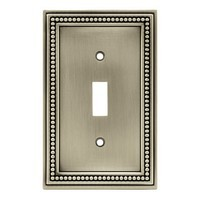 Liberty Hardware 64905, Single Switch Wall Plate, Brushed Satin Pewter, Beaded Collection