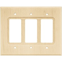 Liberty Hardware 65171, Triple Decorator Wall Plate, Unfinished Wood, Wood Square