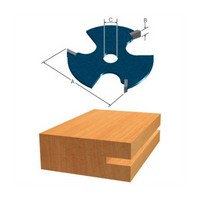 Bosch 85529M, Slotting Cutter (Cutter Only, Arbors Sold Separately), 3 Wing, Overall Dia 1-7/8, 5/16 Shank Arbor Dia, Kerf 1/8