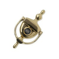 Harney Hardware DKV630U3, Brass Door Knocker With Peephole Viewer, 6in High, Brass Door Knocker, Polished Brass