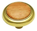 "Belwith P706-OAK, Lancaster Hand Polished and Oak 1-1/4"" Knob, Zinc Die Cast and Oak"
