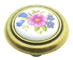 "Belwith P776-BQ, White Floral 1-1/4"" Knob, Ceramic"
