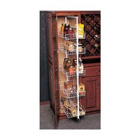 Knape and Vogt KV P4250FE-W, Pantry Pull-Out Frame, KV Series, White, Baskets Side Mount on Frame, 3-13/16 W X 44-49-3/8 H X 22-1/4 D, Baskets Sold Separately