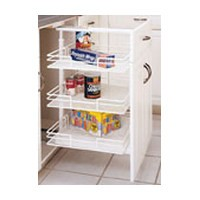 Rev-A-Shelf 5225-09, Pull Out Pantry Unit, 3-6 White Basket System, 8-7/8 BW x 26-3/8 to 35in FH x 20in OD, 3 Baskets / 2 Door Mount Brackets