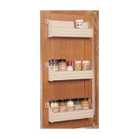 Rev-A-Shelf ST-36-11-52, 36in Polymer Door Mount Spice Rack, White, Incl: 1 Tray, 2-Pr End Caps, Adhesive & Screws