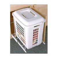 Knape and Vogt KV PSH15-1-60-W, 60QT Pull-Out Plastic Hamper Basket with Lid, 15-1/8 W x 19-1/8 D x 21-1/16 H, 1in Over Travel, White