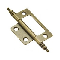 Belwith P8294-AB 2 L x 1-7/16 W Non-Mortise, Finial Tip Hinge, Antique Brass