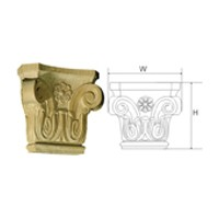CVH International CAPITAL#1-4-O, Hand Carved Wood 5-3/4 H Capital, Corinthian Collection, Oak