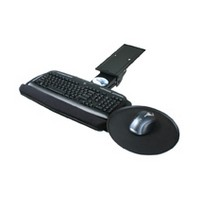 Knape and Vogt KV SD-3, Keyboard Arm and Tray with Palm Rest and Mouse Pad, Keyboard Tray Size 10-13/16 W x 20 L, Black