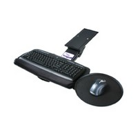 Knape and Vogt KV SD-10, Keyboard Arm and Tray with Palm Rest and Mouse Pad, Keyboard Drawer Size 10-3/8 W x 20 L, Black