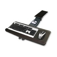 Knape and Vogt KV SD-24, Keyboard Arm and Tray with Palm Rest and Mouse Platform, Keyboard Tray Size 10 W x 25 L, Black