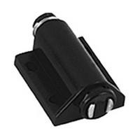Pride C907.BK, 1-5/16 L, Single Round Push Latch, Magnetic, Plastic Housing, Black