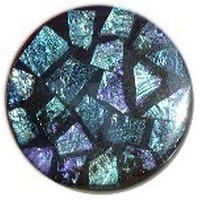 Glace Yar GYK-104AB1, Round 1in Dia Glass Knob, Random, Blue/Turquoise/Purple, Black Grout, Antique Brass