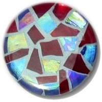 Glace Yar GYK-11-5SN112, Round 1-1/2 Dia Glass Knob, Random, Clear Red Cathedral, Blue Iridescent Glass, Light Blue Grout, Satin Nickel Base