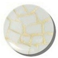 Glace Yar GYK-430BR114, Round 1-1/4 Dia Glass Knob, Random, White, Gold Grout, Brass