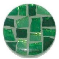 Glace Yar GYK-50-4-AB1, Round 1in Dia Glass Knob, Square Cuts, Light, medium and dark Green cathedral (clear) glass, Light Green grout., Antique Brass Base