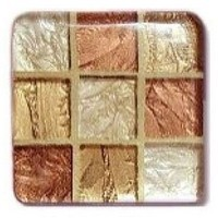 Glace Yar GYK-88PC, Square 1-1/2 Length Glass Knob, 9 Tiles, Copper, Bronze and Champagne Beige, Gold Grout, Polished Chrome