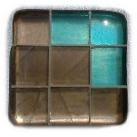 Glace Yar GYK-BC81AB, Square 1-1/2 Length Glass Knob, 9 Tiles, Bronze Clear, 3 Clear Corner, Beige Grout, Antique Brass