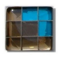 Glace Yar GYK-BC84BR, Square 1-1/2 Length Glass Knob, 9 Tiles, Bronze Clear, 3 Clear Turquoise Corner, Beige Grout, Brass