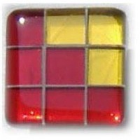 Glace Yar GYK-BC88SN, Square 1-1/2 Length Glass Knob, 9 Tiles, Clear Red , 3 Clear Yellow Corner, Beige Grout, Satin Nickel