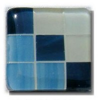 Glace Yar GYK-DND3AB, Square 1-1/2 Length Glass Knob, 9 Tiles, Dark Blue on diagonal, Light Blue and Off White in corners, Beige Grout, Antique Brass