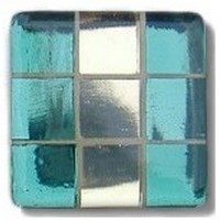Glace Yar GYK-MR1AB, Square 1-1/2 Length Glass Knob, 9 Tiles, Clear Green on Sides, Light Gold, Beige Grout, Antique Brass