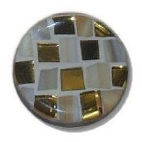 Glace Yar GYKR-4-04AB114, Round 1-1/4 Dia Glass Knob, Square Cuts, Beige Opaque glass, Gold cathedral glass, Beige Grout, Antique Brass Base