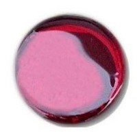 Glace Yar GYKR-REDBR1, Round 1in Dia Glass Knob, Solid Color, Ruby Red cathedral (clear) glass., Brass Base