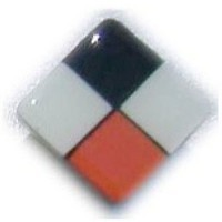 Glace Yar HD-30BBR112, Square 1-1/2 Length Glass Knob, 4 Tiles, Black, Electric Orange, White Glass/Black Grout, Brass Base