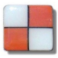 Glace Yar HD-32BAB1, Square 1in Lng Glass Knob, 4 Tiles, Electric Orange, White/Black Grout, Antique Brass
