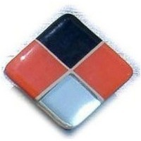 Glace Yar HD-38WAB1, Square 1in Lng Glass Knob, 4 Tiles, Black, Electric Orange, Mirror Glass/White Grout, Antique Brass