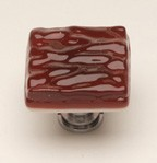 Sietto K-203-SN, Glacier Garnet Red Glass Knob, Length 1-1/4, Satin Nickel