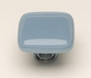 Sietto K-406-SN, Intrinsic Powder Blue Glass Knob, Length 1-1/4, Satin Nickel