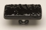 Sietto LK-213-ORB, Glacier Black Long Glass Knob, Length 2in, Oil-Rubbed Bronze