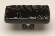 Sietto LK-213-PC, Glacier Black Long Glass Knob, Length 2in, Polished Chrome