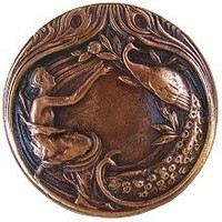 Notting Hill NHK-123-AC, Peacock Lady Knob in Antique Copper, All Creatures