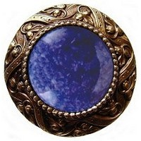 Notting Hill NHK-124-AB-BS, Victorian Jewel Knob in Antique Brass/Blue Sodalite Natural Stone, Jewel