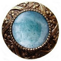 Notting Hill NHK-124-AB-GA, Victorian Jewel Knob in Antique Brass/Green Aventurine Natural Stone, Jewel