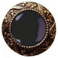 Notting Hill NHK-124-AB-O, Victorian Jewel Knob in Antique Brass/Onyx Natural Stone, Jewel