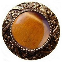 Notting Hill NHK-124-AB-TE, Victorian Jewel Knob in Antique Brass/Tiger Eye Natural Stone, Jewel