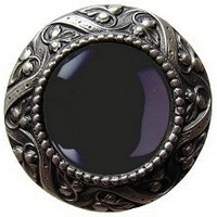 Notting Hill NHK-124-AP-O, Victorian Jewel Knob in Antique Pewter/Onyx Natural Stone, Jewel