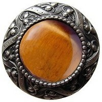 Notting Hill NHK-124-AP-TE, Victorian Jewel Knob in Antique Pewter/Tiger Eye Natural Stone, Jewel