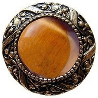 Notting Hill NHK-124-BB-TE, Victorian Jewel Knob in Brite Brass/Tiger Eye Natural Stone, Jewel