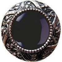 Notting Hill NHK-124-BN-O, Victorian Jewel Knob in Brite Nickel/Onyx Natural Stone, Jewel