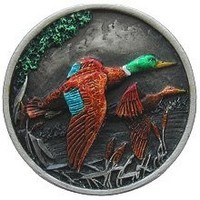 Notting Hill NHK-141-PHT, On The Wing (Ducks) Knob in Hand-Tinted Antique Pewter, Great Outdoors Collection